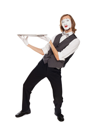 mime: mime actor holding a empty dish