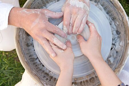 teaches: potter teaches the student the art of clay pottery