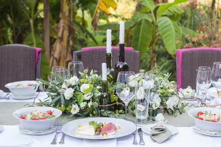 served and decorated wedding table in a rustic style