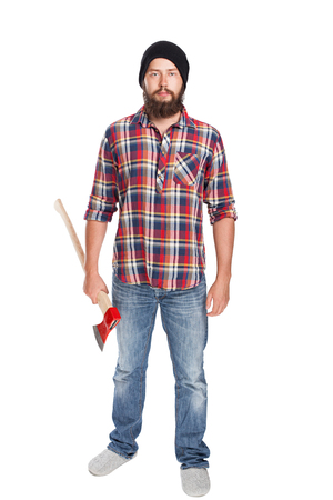 young bearded lumberjack posing with ax front view 版權商用圖片