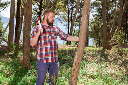splitting up: Portrait of an attractive young lumberjack who walks through the woods in search of the tree