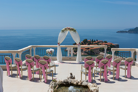 Beautiful wedding arch on the terrace overlooking the sea