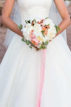 pink wedding: wedding bouquet, white peony and david austin