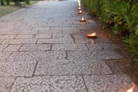 pedestrian walkway: pedestrian walkway decorated with candles
