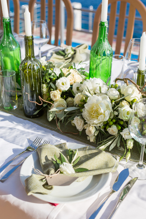 decorated wedding table rustic style