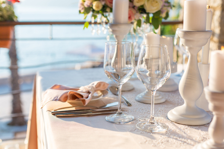 formal dinner party: table decorated with flowers wedding dinner. Stock Photo