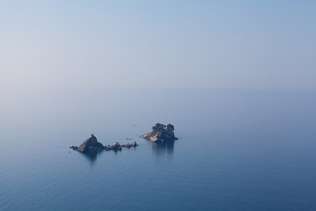 serbia and montenegro: Seascape, church on the island in Montenegro.