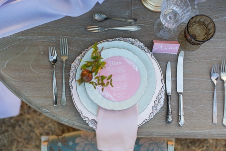 wedding reception: decorated for wedding elegant dinner table outdoors Stock Photo