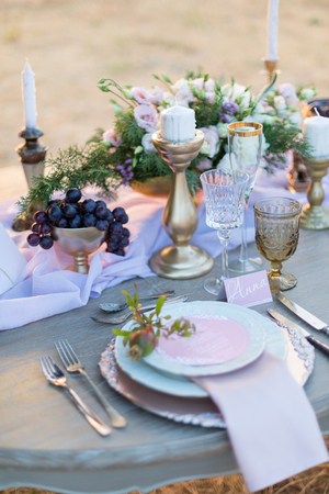 decorated for wedding elegant dinner table outdoors 스톡 콘텐츠