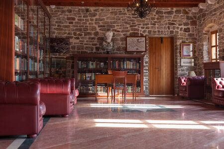 house with style: BUDVA, MONTENEGRO - FEBRUARY 7, 2016: The Library in the Citadel museum in Budva. Editorial