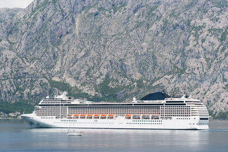 liner: Liner in the Bay of Kotor, mountains in the background