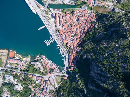 serbia and montenegro: Aerial view of Old Kotor in Montenegro