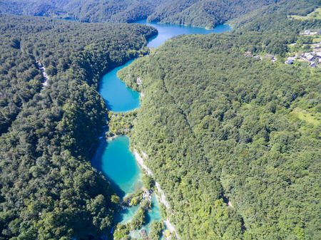 summer trees: aerial view of beautiful lakes and waterfalls in Plitvice Lakes National Park, Croatia