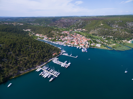 city park boat house: Aerial view of old Skradin at estuary of the Krka river, Croatia Stock Photo