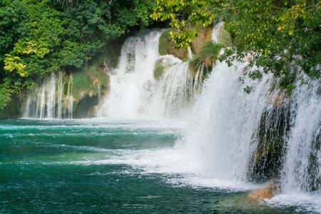 Waterfalls at Krka National Park in Croatia Stock Photo