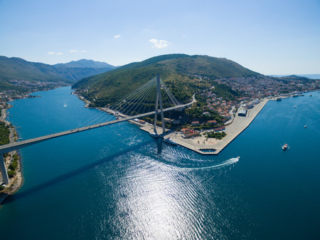 Aerial view of Dubrovnik bridge - entrance to the city, Croatia.