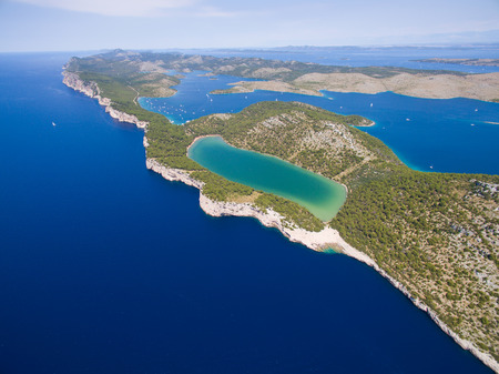 aerial view of the Slano lake in nature park Telascica, Croatia, Dugi otok.