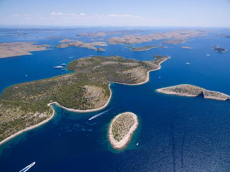kornat: aerial view of the National park Kornati, Kornati archipelago, Adriatic sea in Croatia