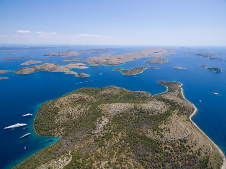 kornati: aerial view of the National park Kornati, Kornati archipelago, Adriatic sea in Croatia