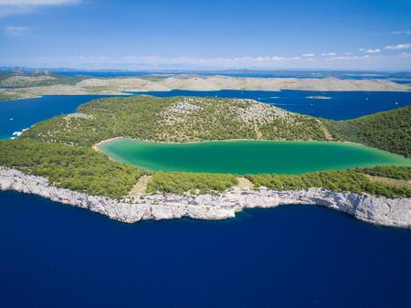 kornat: aerial view of the Slano lake in nature park Telascica, Croatia, Dugi otok.