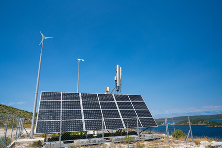 autonomous base station antennas of cellular communication, Dugi otok, Croatia. Stock Photo