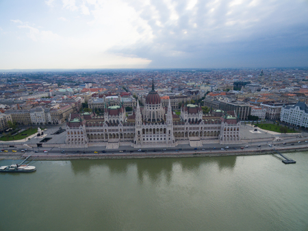 Aerial view of Parliament building in Budapest.