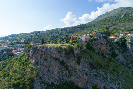 serbia and montenegro: aerial view of Old town Bar