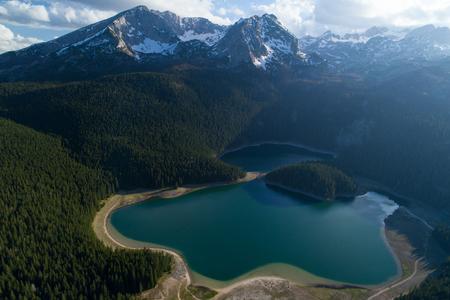 aerial view of Black Lake near Durmitor mountain