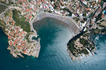 Aerial view of the old city of Ulcinj - the southernmost city of the Montenegro.