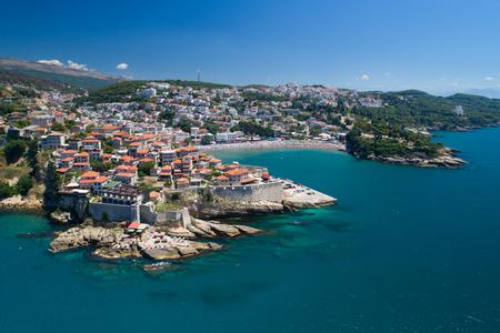 Luchtfoto van de oude stad van Ulcinj - de meest zuidelijke stad van de Montenegro.