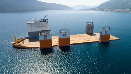Tivat, Montenegro - 31 July 2017: Heavy lift vessel Dockwise Vanguard came to Montenegro to take the floating dock Editorial