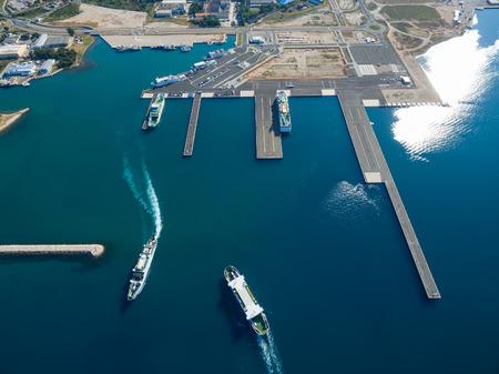 Zadar, Croatia - July 20, 2016: Aerial view of Jadrolinija ferry boats.