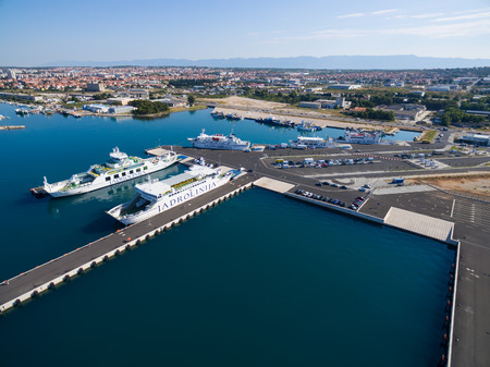 Zadar, Croatia - July 20, 2016: Aerial view of Jadrolinija ferry boats.