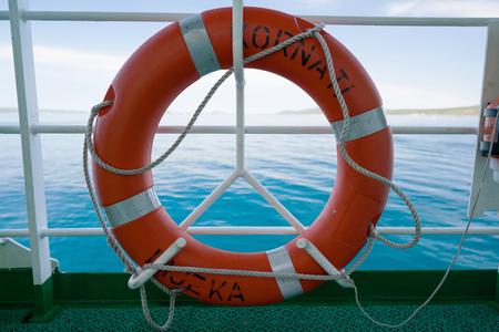 Zadar, Croatia - July 20, 2016: lifebuoy on the ferry Kornati -Jadrolinija ferryboat. Stock Photo - 86345204