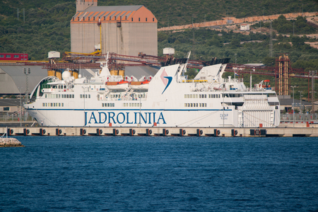 Zadar, Croatia - July 20, 2016: Jadrolinija ferry boat in Gazenica port. Editorial