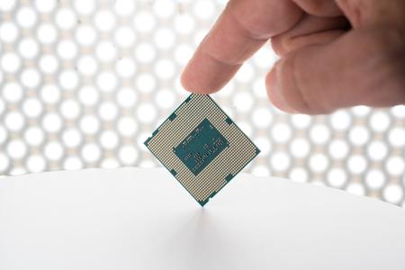 computer processor in hand Stock Photo