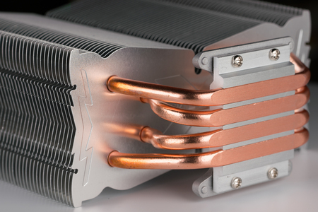 modern computer processor cooler or radiator or heat sink, close up Stock Photo