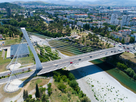 aerial view of Millennium bridge over Moraca river in Podgorica, Montenegro
