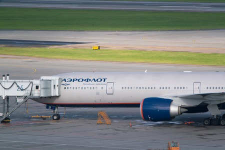 Moscow, Sheremetyevo airport, Russia - September 24, 2016: Aeroflot - Russian Airlines airplane at the jet bridge