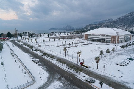 Bar, Montenegro - 12 January 2017: unusual weather on the Adriatic coast Editorial