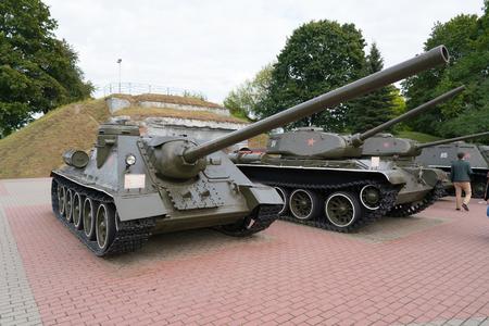 Brest, Belarus - September 25, 2016: SU-100 Soviet self-propelled artillery unit class Tank Destroyer in Brest Fortress