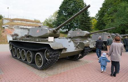 Brest, Belarus - September 25, 2016: T-44 tank in Brest Fortress