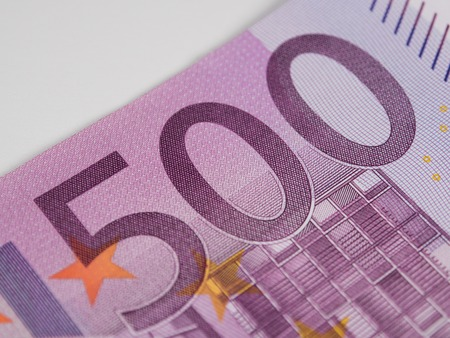 five hundred euro banknote macro