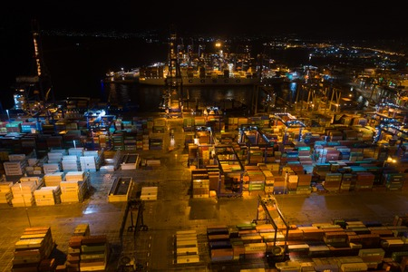Athens, Greece - November 15, 2017: night aerial view of Perama cargo port Editorial