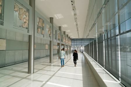 Athens, Greece - November 15, 2017: Interior View of the New Acropolis Museum in Athens. Designed by the Swiss-French Architect Bernard Tschumi.