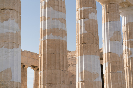 details of the columns of the temple Parthenon in the Acropolis
