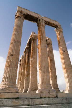 Iconic pillars of Temple of Olympian Zeus, Athens historic center.