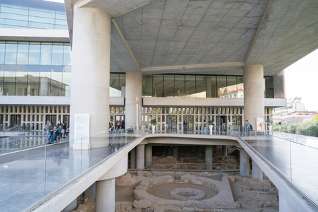 Athens, Greece - November 15, 2017: entrance to the New Acropolis Museum in Athens. Designed by the Swiss-French Architect Bernard Tschumi. Editorial