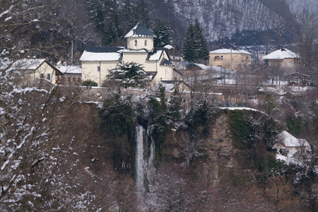 monastery in the mountains winter Europe Montenegro