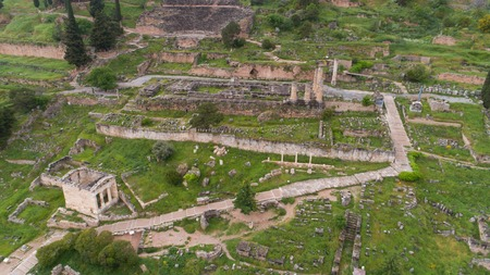 Aerial view of archaeological site of ancient Delphi,Greece